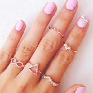 Gold Rhinestone Ring Set